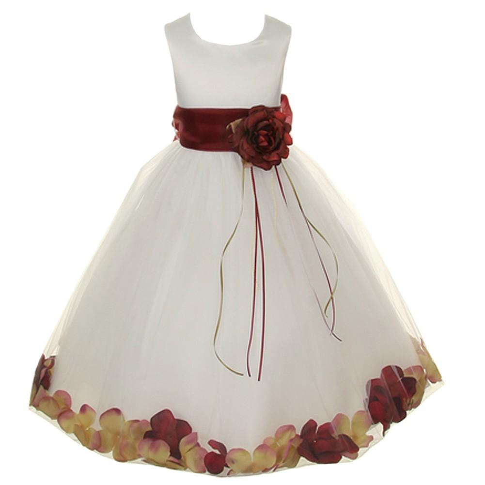 Kids Dream Baby Girls Ivory Burgundy Petal Flower Girl Dress 6m