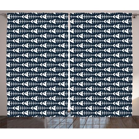 Brayden Studio Ashanti Animal Fish Bone Skeleton Pattern With Spines Sea Underwater Theme Illustration Graphic Print   Text Semi Sheer Rod Pocket Curtain Panels  Set Of 2