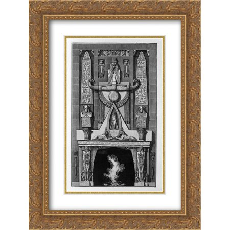 Giovanni Battista Piranesi 2x Matted 20x24 Gold Ornate Framed Art Print 'Egyptian-style fireplace, on the floor between two obelisks and a number of decorative elements, two sphinxes - Elements Floor