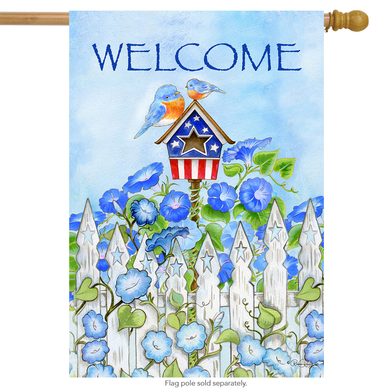 "Patriotic Birdhouse Summer House Flag Bluebirds Flowers Welcome 28""x40"" by"