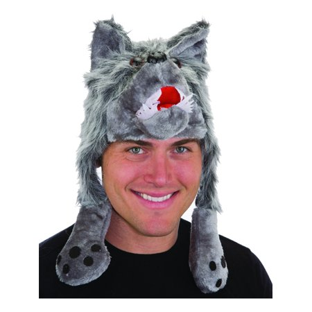 Animal Hats (Plush Wolf Hat Novelty Cap Animal Beanie With Paws Costume)