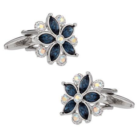 Swarovski Crystal Flower Cufflinks Blue By Cuff Daddy