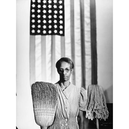 American Gothic, 1942 Black and White Vintage Woman Photo Print Wall Art By Gordon Parks Black And White Photo Art