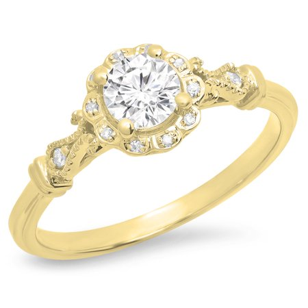 Dazzlingrock Collection 0.45 Carat (ctw) 14K Round White Diamond Bridal Halo Engagement Ring 1/2 CT, Yellow Gold, Size 4