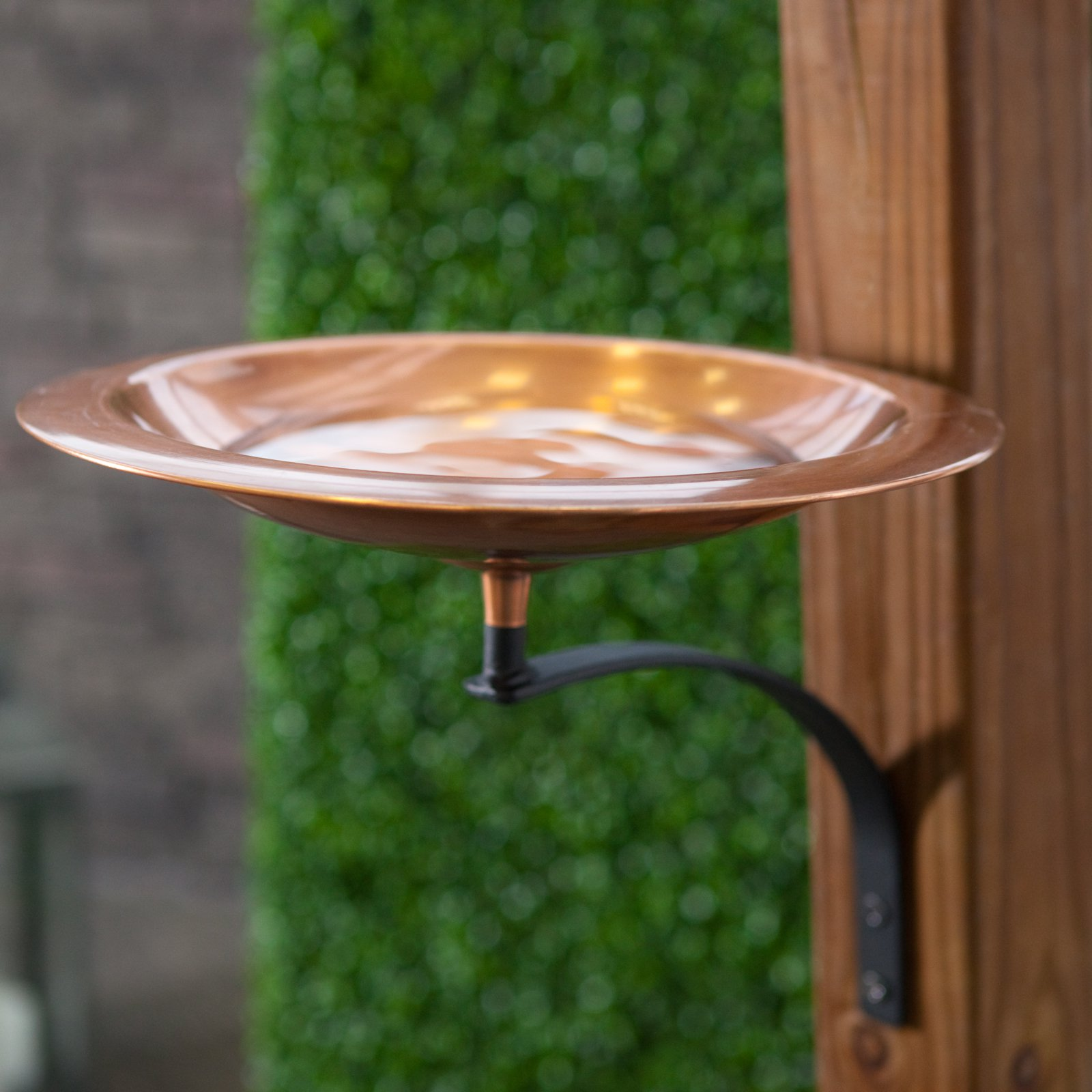 Classic Copper Birdbath Bowl with Wall Mount Bracket by Birdbaths