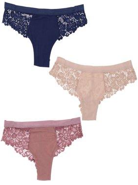 7a7372513241 Product Image Marilyn Monroe Intimates Lacey Cheeky Women's Bikini Panties  (3 Pr) Navy, Mauve,