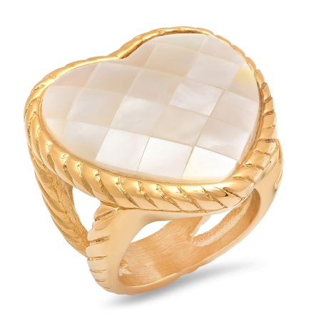 Ladies Gold Tone Stainless Steel Mother of Pearl Heart Cocktail Ring ()