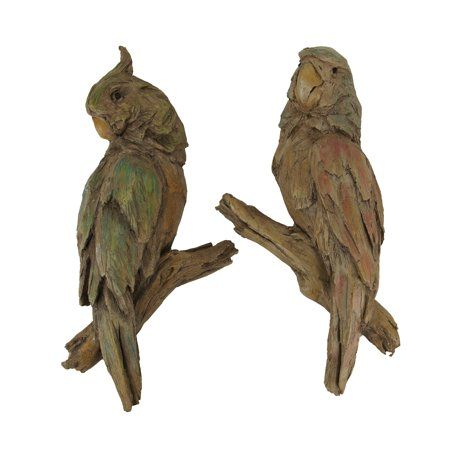 Old Carved Wood (Red and Green Carved Old Wood Look Parrot Wall Sculpture Set)