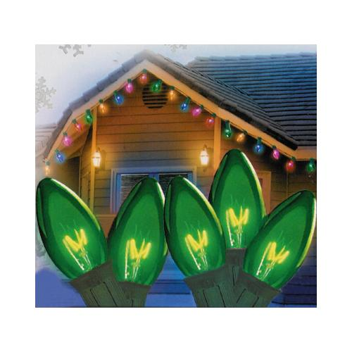 Set of 25 Transparent Green C7 Christmas Lights - Green Wire