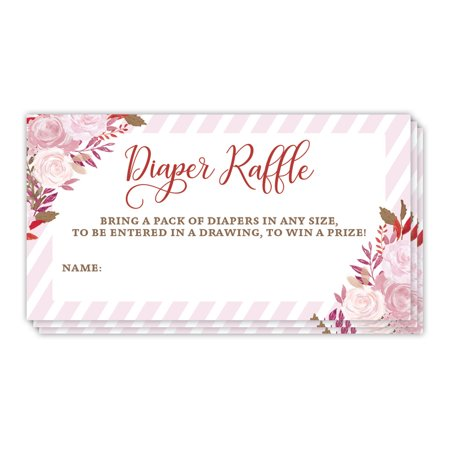 Diaper Raffle Tickets Mommy to Be Baby Shower Fun Party Game Win Prizes Enter Drawing Newborn Girl Female Gender Blank Name Tag Cards 48 Pack Guest Invitation Inserts 3.5 x 2 Inches Digibuddha
