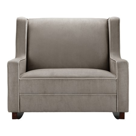 Baby Relax Hadley Polyester Wingback Rocking Chair, Dark Taupe