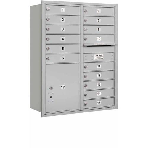 "Salsbury Industries 4C Horizontal Mailbox 11-Door High Unit (41""), Double Column, 15 MB1 Doors, 1 PL5, Aluminum, Rear Load, Private Access"