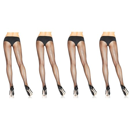 Women's Fishnet Pantyhose With Back Seam, Black, 4-Pair, Plus-Size Classic Back Seam Fishnet