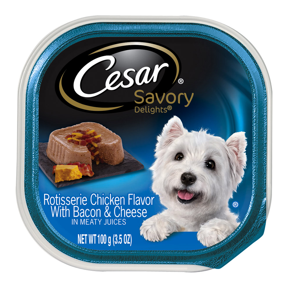 Cesar Savory Delights Rotisserie Chicken Dog Food, Trays, 3.5 Oz