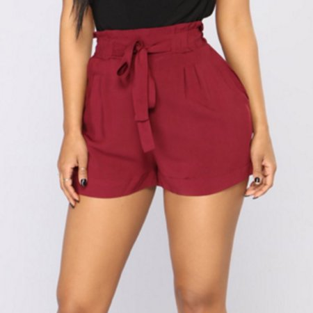 9c7c6ffc5c Hirigin - Plus Size Womens hot pants solid high waist shorts fashion  bandage belted New Style Sexy Summer Casual Shorts Beach Shorts Red Size XL  - Walmart. ...