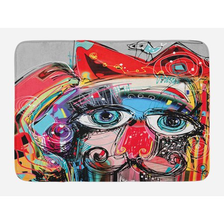 Art Bath Mat, Grafitti like Sketchy Style Colorful Painting with Human like Face Dog Animal Image, Non-Slip Plush Mat Bathroom Kitchen Laundry Room Decor, 29.5 X 17.5 Inches, Multi Colored, Ambesonne
