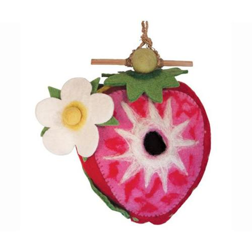 STRAWBERRY Wild Woolies Handmade Felt Birdhouse