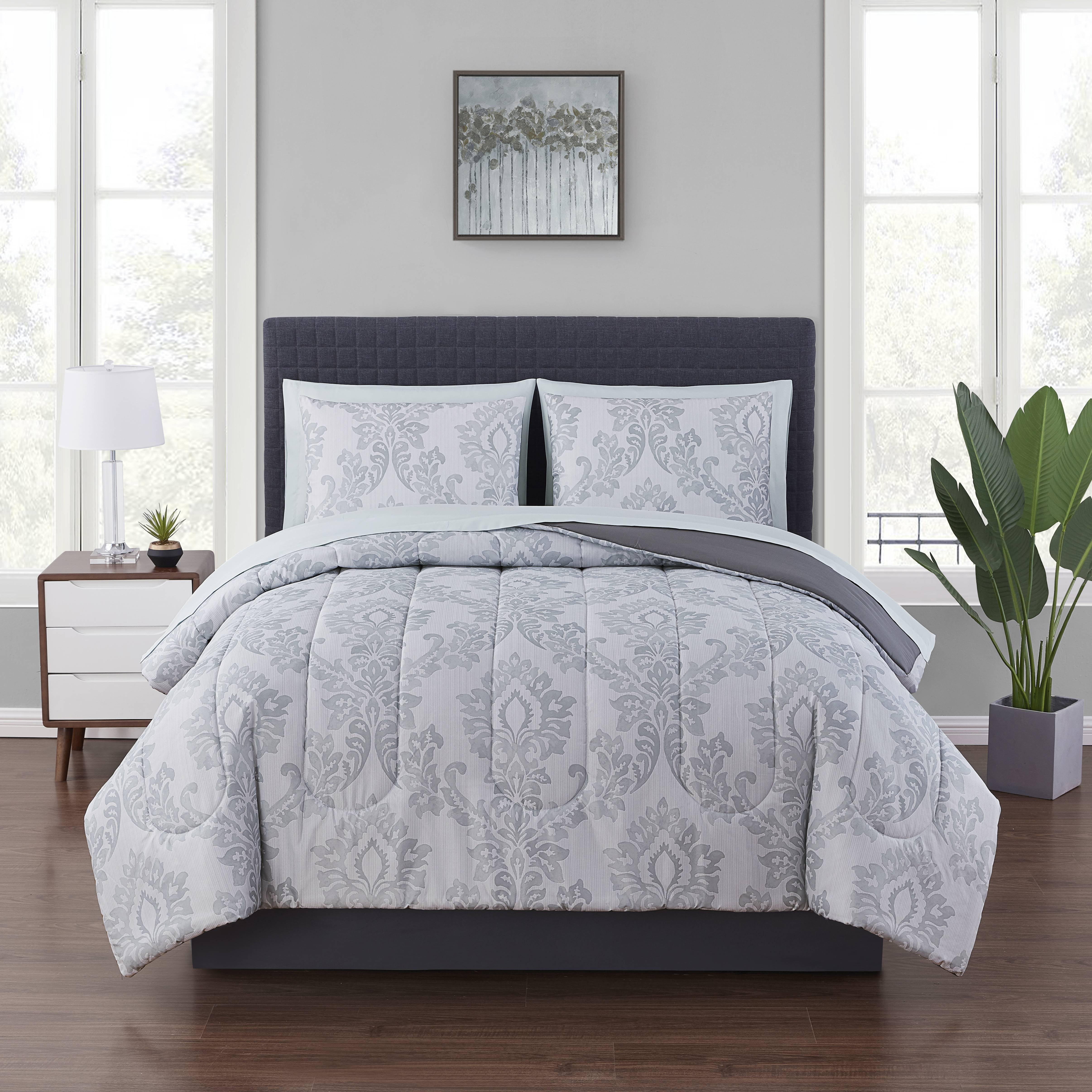Mainstays Gray Pinstripe Damask 8 Piece Bed In A Bag Bedding Set With Sheet Set Queen Walmart Com Walmart Com