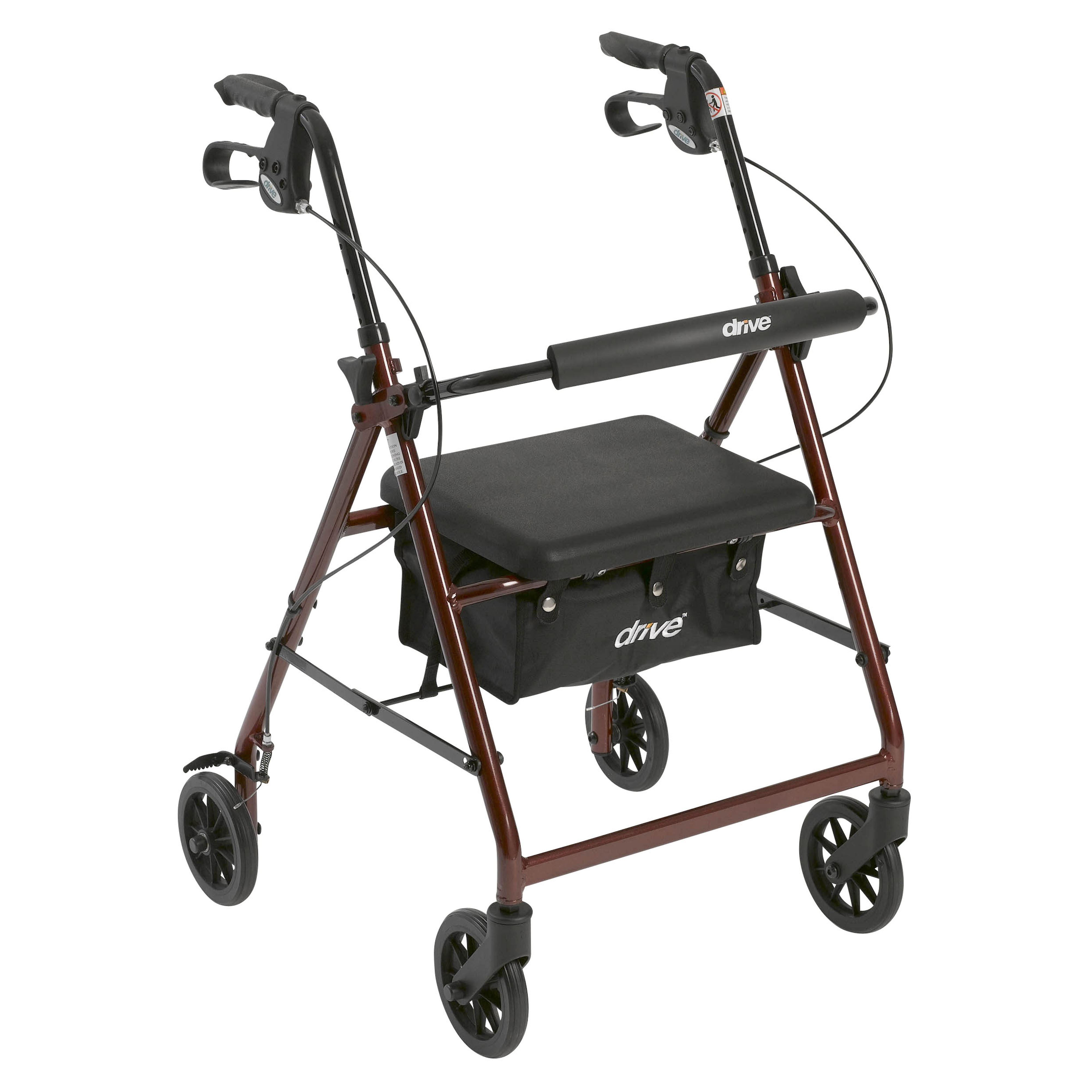 "Drive Medical Rollator Rolling Walker with 6"" Wheels, Fold Up Removable Back Support and Padded Seat, Red"