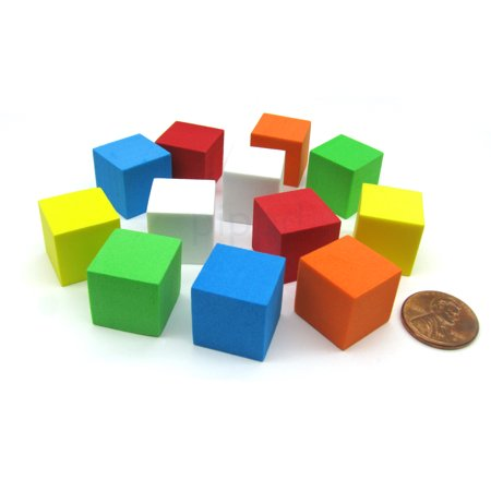 Koplow Games Pack of 12 16mm Blank Foam Dice Cubes with Square Corners - 2 Each of 6 Colors #1680x (Foam Cubes)