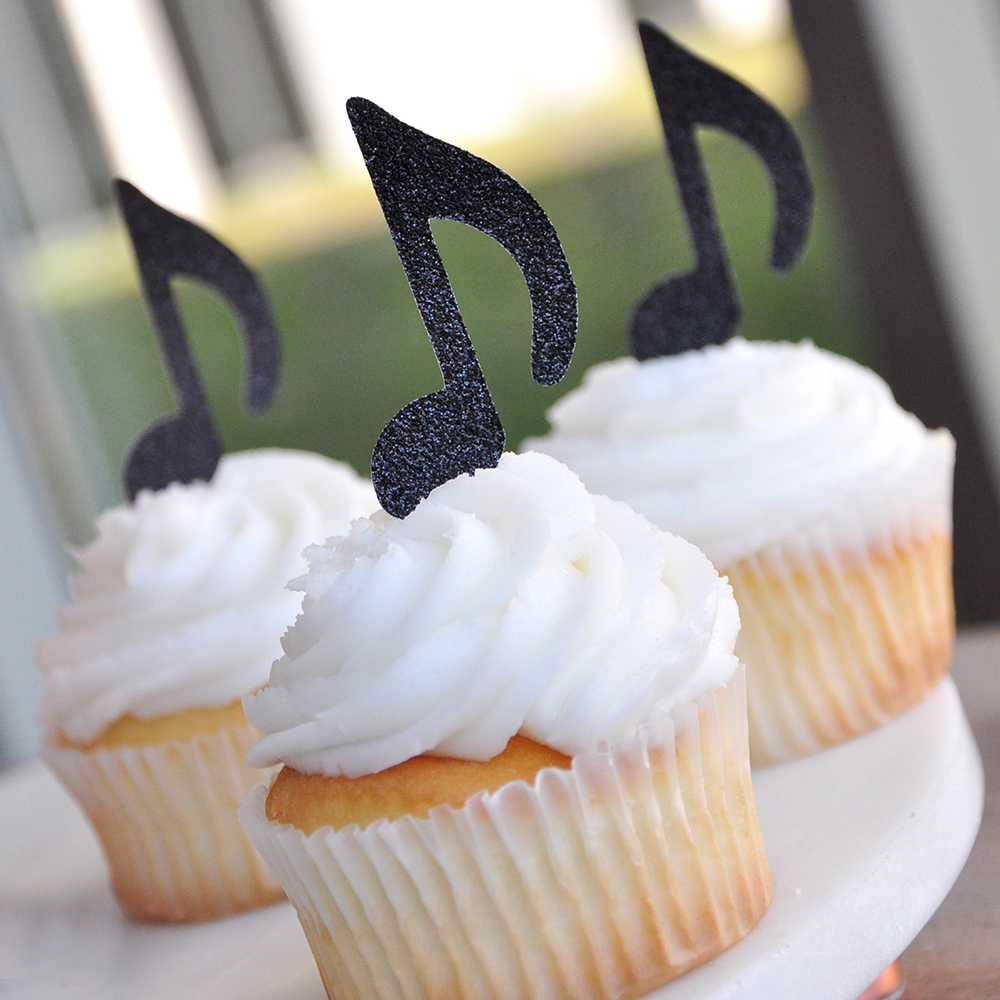Music Party Decor. Handcrafted in 1-3 Business Days. Rock Star Party. Music Note Cupcake Toppers 12CT.