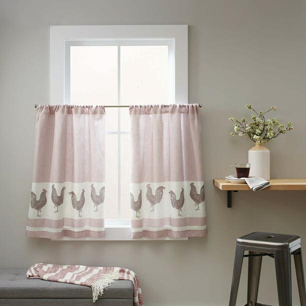 Better Homes & Gardens Curtain Tier, Rooster/Rose - Set of (2) - Walmart.com - Walmart.com