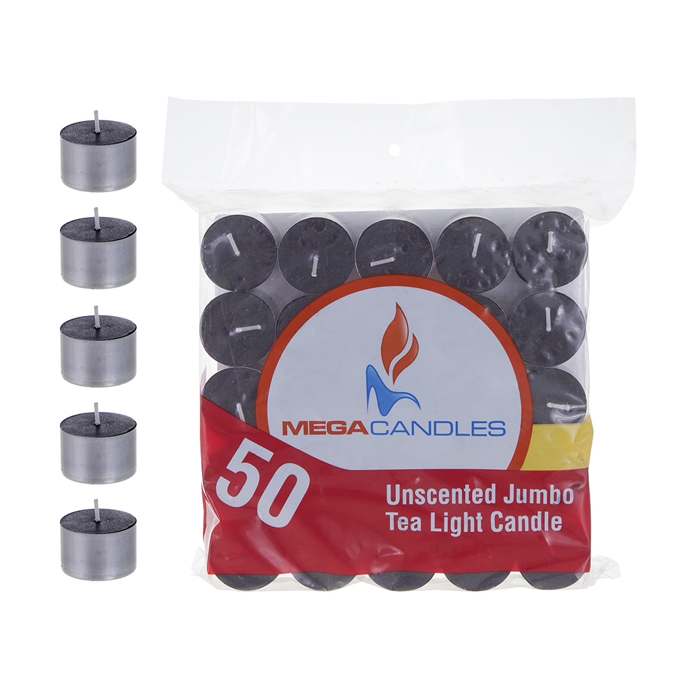 Mega Candles - Unscented Jumbo Tea Light Candles - Black, Set of 50