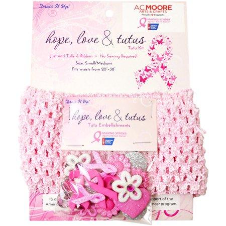 Dress It Up Breast Cancer Awareness Tutu Kit-Hope, Love & Tutus; Size - Tutu Kits