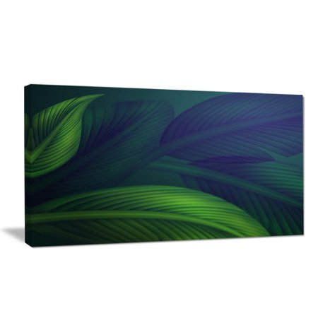 Design Art 'Tropic Jungle Leaves Background' Oil Painting Print on Wrapped
