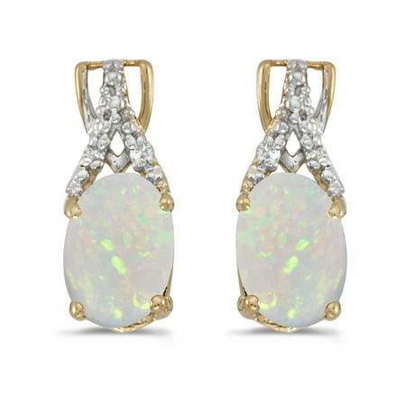 Women's 14K Yellow Gold Oval Opal 7x5mm Gemstone Dangle Drop Diamond Accented Stud Earrings, (.02 ct)