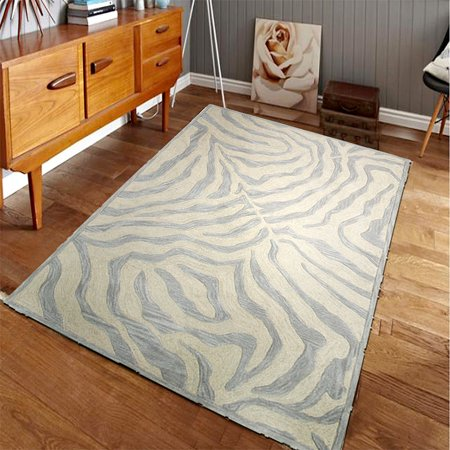 Fashion Zebra Animal Skin Replica Taupe Silver Wool Hand Tufted Rectangle 9 Ft X 12