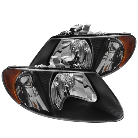 Spec-D Tuning For 2001-2007 Dodge Caravan Chrysler Town & Counry Black Euro Headlights + Amber Reflector 2001 2002 2003 2004 2005 2006 2007 (Left+Right)