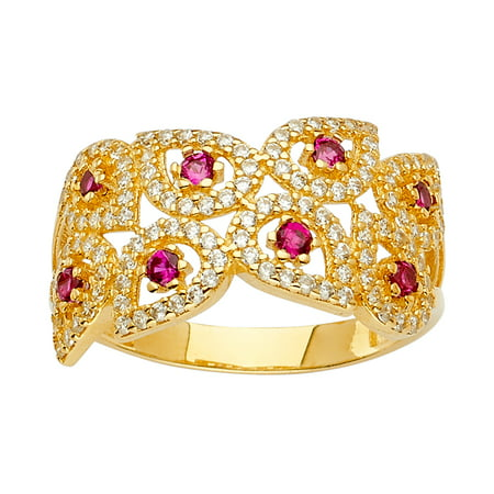 Multi Pave Gems (FB Jewels 14K Yellow Gold Multi Line Micro Pave Cubic Zirconia CZ Fashion Anniversary Ring Size 5.5 )