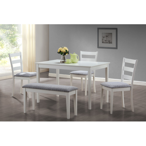 Merveilleux Monarch Dining Set 5Pcs Set / White Bench And 3 Side Chairs