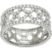 CZ 18kt White Gold over Sterling Silver X Band Ring