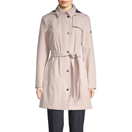Self-Tie Hooded Coat Anne Klein Womens Trench Coat