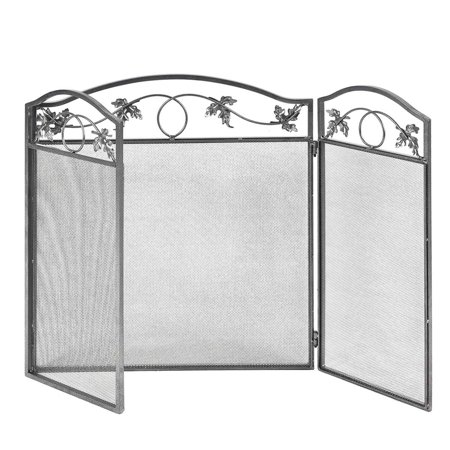 Topbuy  3 Panel Steel Fireplace Screen Folding Doors Heavy Duty Steel Christmas Home 3 Panel Mission Fireplace Screen