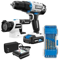 HART 20-Volt Cordless 1/2-inch Drill and LED Light Kit with 14-Piece Accessory Kit (1) 1.5Ah Lithium-Ion Battery