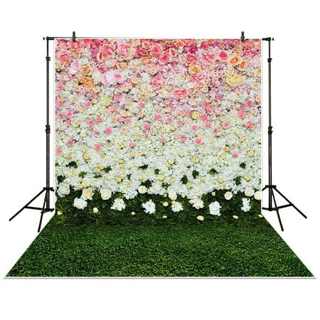 GreenDecor Polyster 5x7ft Photography Backdrop flowers wall lawn interior grass wedding background props photocall photobooth Photo studio