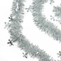 50' Shiny Silver Christmas Tinsel Garland with Holographic Snowflakes - Unlit - 6 Ply