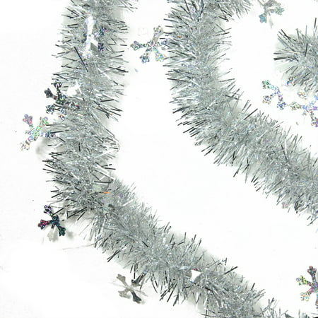 Christmas Tinsel Garland.50 Shiny Silver Christmas Tinsel Garland With Holographic Snowflakes Unlit 6 Ply