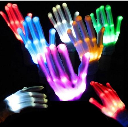 Red LED Light Gloves Finger Lighting Electro Rave Party Dance Skeleton Halloween](Finger Light Gloves)