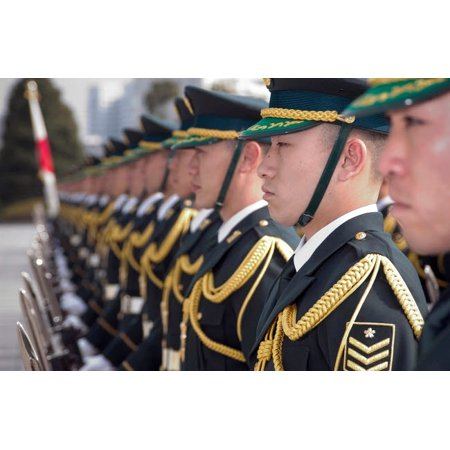 Members of Japans Ground Self Defense Force Special Honor Guard stand in formation Poster Print by Stocktrek