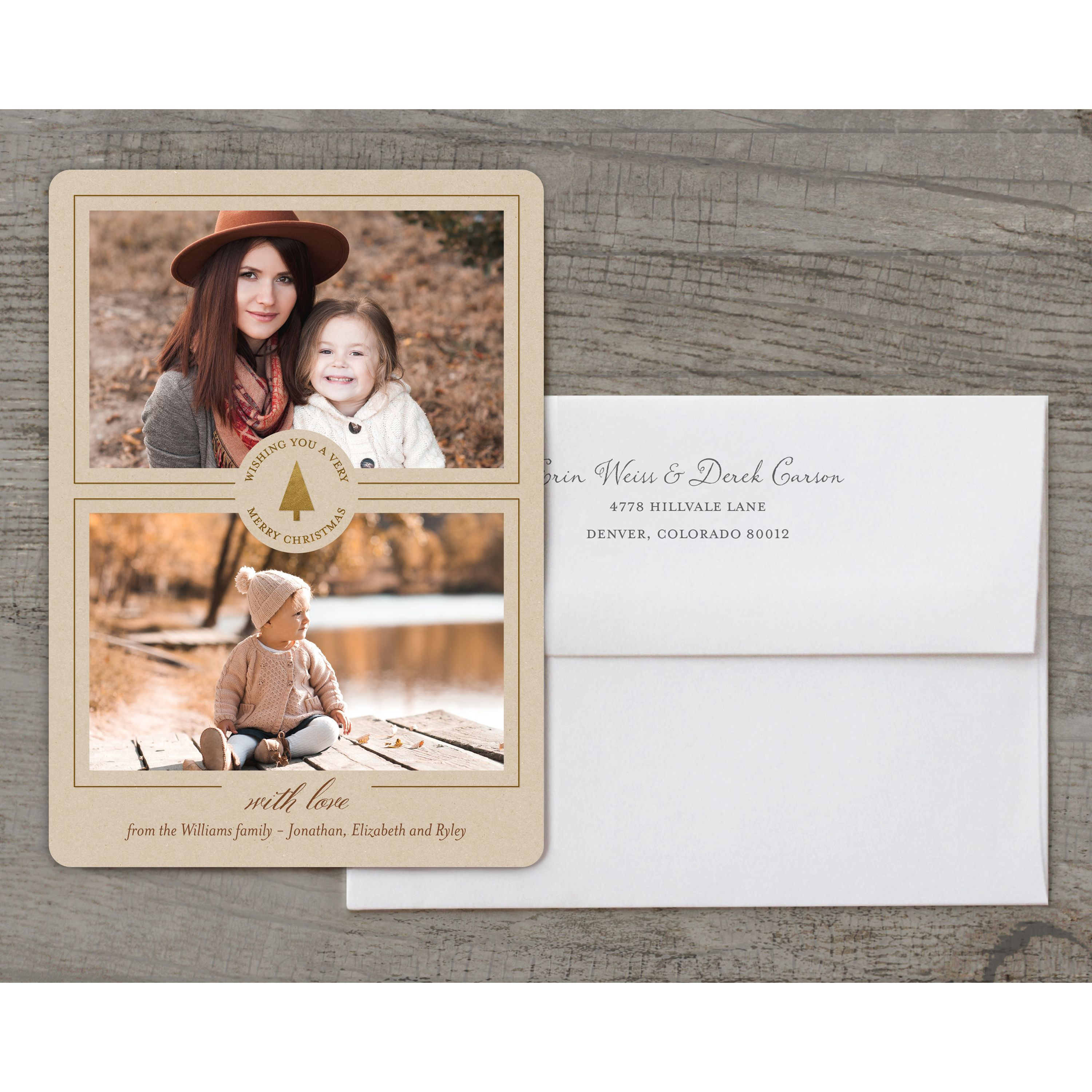 Kraft Foil - Deluxe 5x7 Personalized Holiday Christmas Card