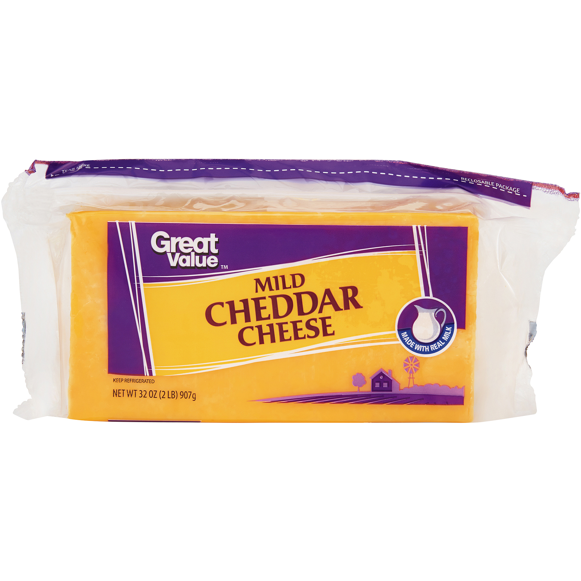 Great Value Mild Cheddar Cheese, 32 oz