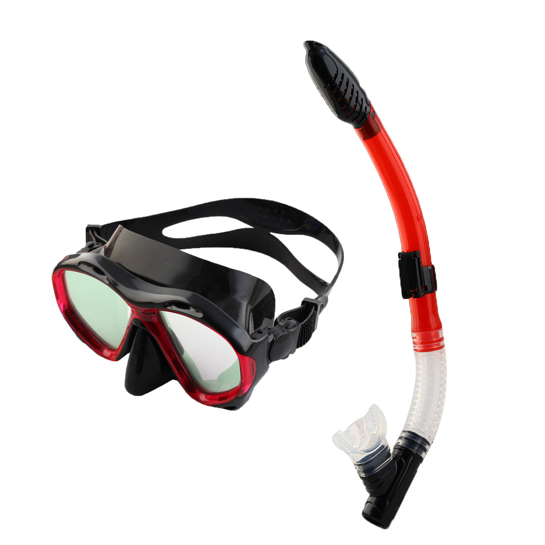 Dry Snorkeling Set Frameless Diving Mask Swimming Goggles Snorkel Tube Red by Unique-Bargains