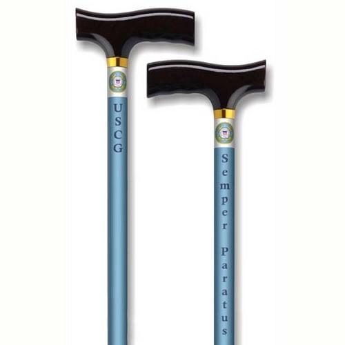 Straight Adjustable Aluminum Cane - Fritz Handle US Coast Guard - Blue