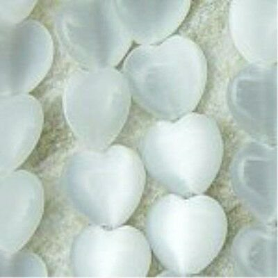 White Heart Shaped Cat's eye beads 6mm