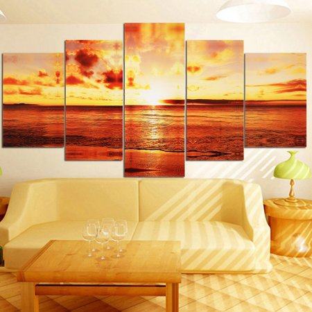 - 5pcs/set Unframed Large Seaside Sunset Canvas Wall Art Print Painting Picture