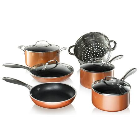 Gotham Steel Copper Cast 10 Piece Set, Non-Stick, Dishwasher Safe, Oven Safe